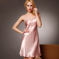 100% Mulberry Silk Nightgown Women Sexy Sleepwear Dresses 100% Silk Nightdress Lady Summer Style Dress Pink Loungewear Clothes