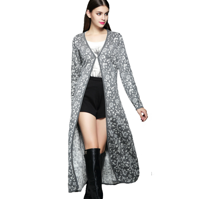 a0d10054c6 ladies 50% wool blending x long cardigans full sleeve v neck blue gray  floral print ankle length sweater fashion women maxi coat