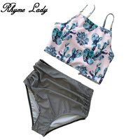 Rhyme Lady New Bikini Set Off Shoulder Swimwear High Waist Swimsuits Women Print Bathing Suit Cross