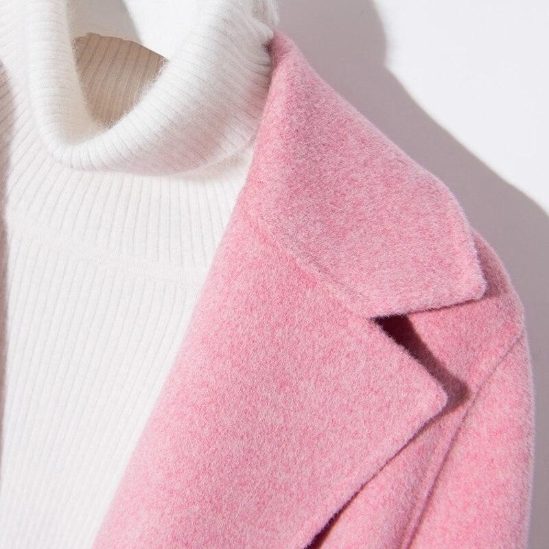 2018 Hiver Col Haut pink Courte Populaire Manteau blue En Multi Mode Grade Femmes Décontracté Laine V Femelle Manteaux Jech Beige couleur camel rrxq8wFB