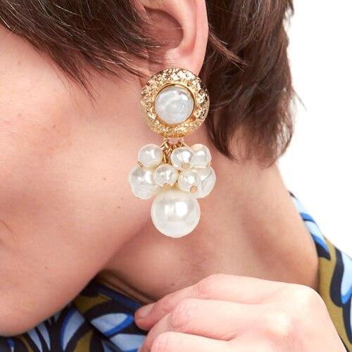 Korea Design Metal Gold Geometric Irregular Circle Square Natural Freshwater Pearl Stud Earrings for Women Earings oorbellen