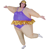 Adult Ballerina Inflatable Costume Funny Blow Up Fat Man Club Purple Ballet Dress Suit Party Fancy