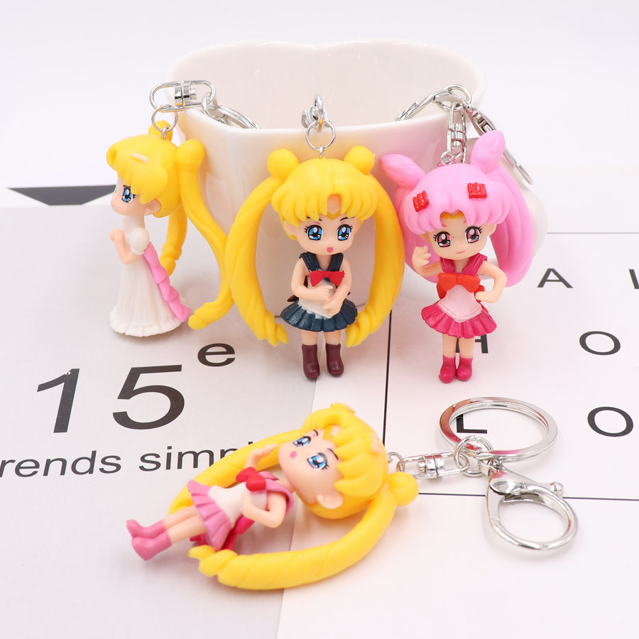 Anime Sailor Moon Key Chain Mars Jupiter Venus Mercury Key Chains PVC Figure Toys Keyring Bag Pendants Gift for Kids