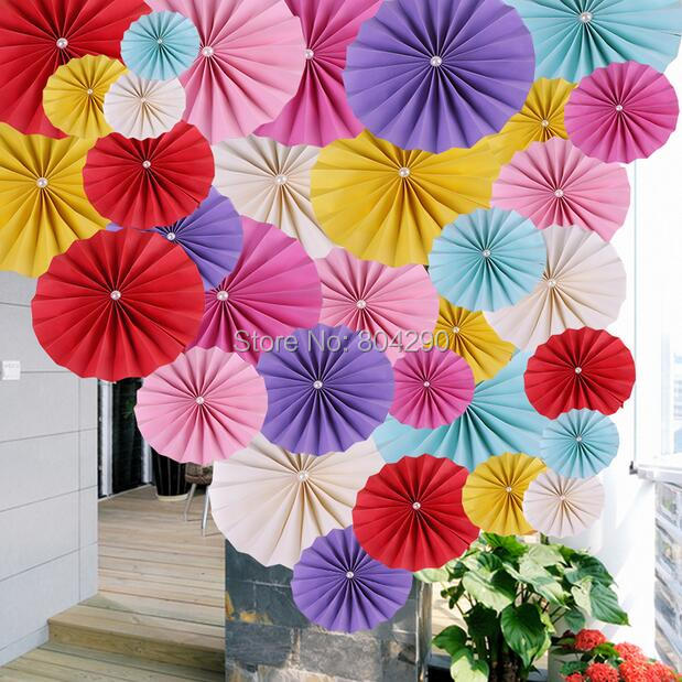 Free Shipping Party Decoration Colorful Pinwheel Paper Fan Flowers