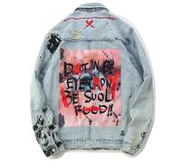 Mens Graffiti Denim Jackets Streetwear 2019 Hip Hop Casual Patchwork Ripped Distressed Punk Rock Jeans Coats Outwear