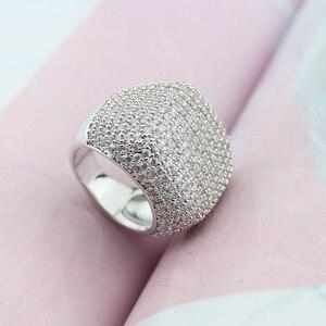 Image 4 - Anillo cuadrado de LYCOON para mujer, sortija de boda de lujo de circonia cúbica con incrustaciones chapadas en plata, anillos de compromiso elegantes para mujer