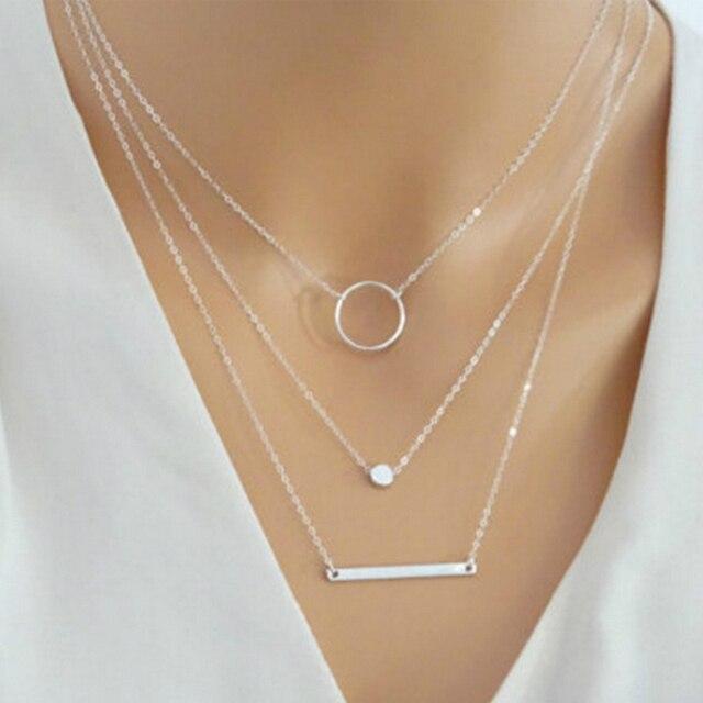 Новинка 2018, модное колье, ожерелье с металлической апертурой, Золотое серебряное многослойное ожерелье для женщин, очаровательное Подарочное ювелирное изделие