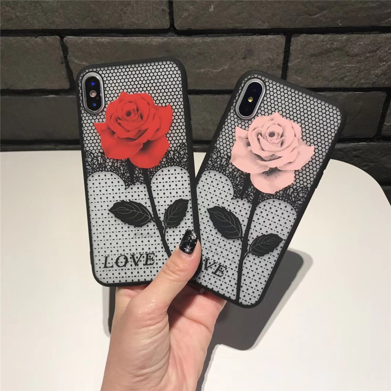 Tfshining Luxury Phone Cases For iPhone X 6 6s 7 7 8 Plus Cute Rose Flowers TPU Hard Cover Case For iPhone 8 7 6 s Plus carcasa  (5)