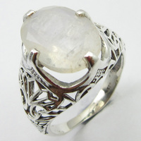 Art Jewelry Natural Blue Rainbow Moonstone Ring Size 9.75 Solid Silver Unique Designed