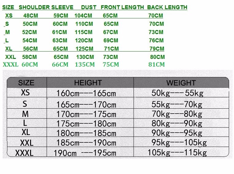 TAD jacket size chart