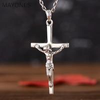 MAYONE 925 Sterling Silver Retro Jesus Cross Crucifix Necklace Pendant Men Women Thai Silver Fine Jewelry Gift
