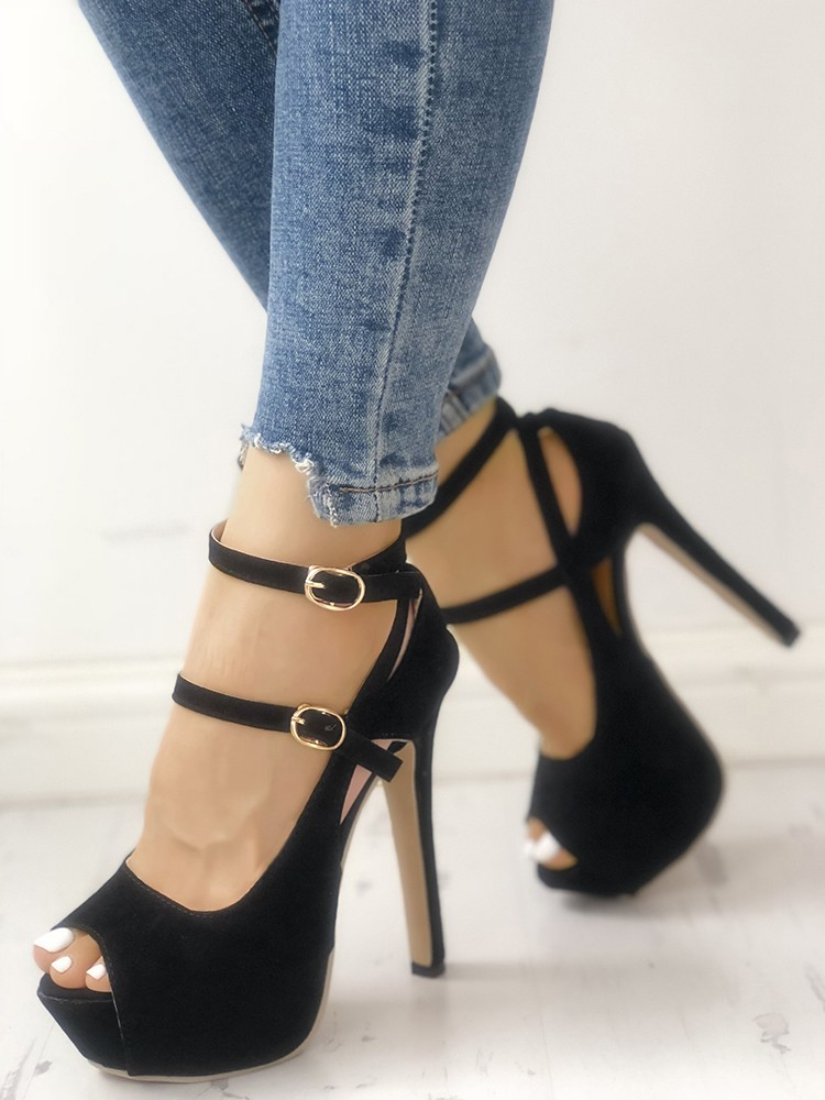 Heels Lovely Contrast Color Buckled Strap Thin Heeled Sandals Open Toe Mesh Cut-outs Leather Dress High Heels Stiletto Woman Pumps Shoes High Heels