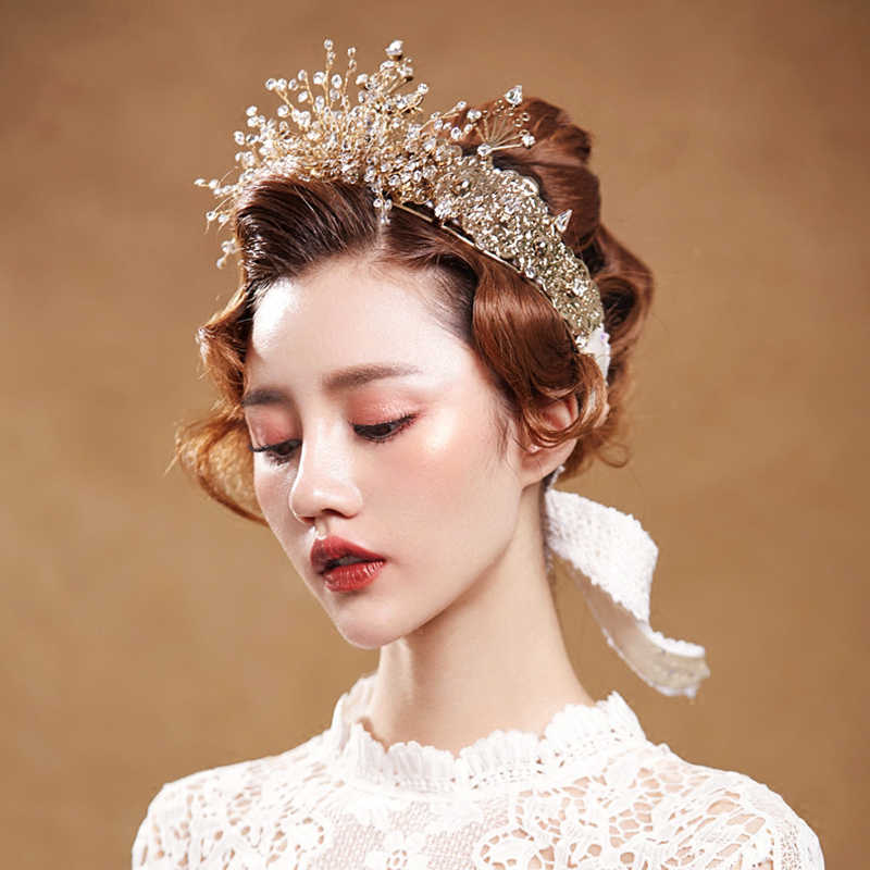HIMSTORYสุดหรูทองที่ทำด้วยมือคริสตัลพิสดารมงกุฎรัดเกล้าแต่งงานเจ้าสาวราชินีเจ้าหญิงมงกุฎอุปกรณ์ผม