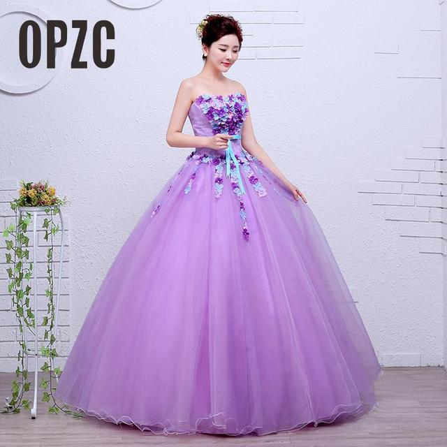 Velnosa Organza Purple Fashion Flowers Strapless Wedding Dress 2017 New  Korean Style Princess cheap Lace Ball Vestidos De Novia e39a16c4a42c