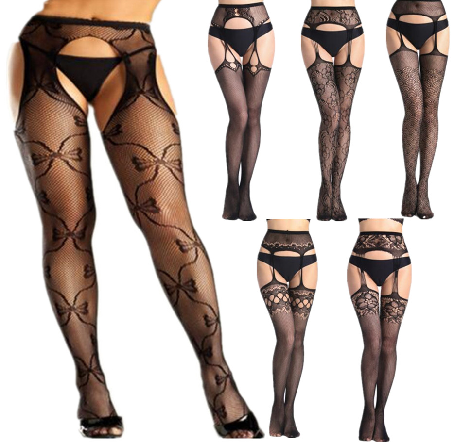 Shengrenmei Super Tights 2019 NEW Sexy Stockings Women Embroidery Open Crotch Pantyhose Oversize Popular Female Garter Lingerie image