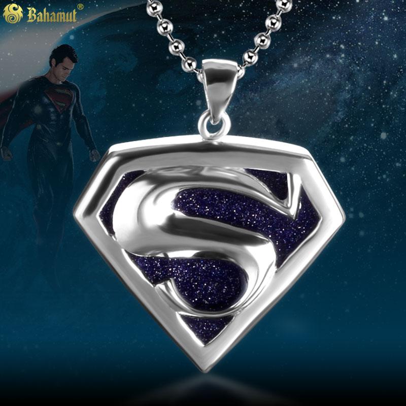 Mode 925 argent Superman pendentifs colliers pour hommes pendentif en cristal artificiel femmes bijoux en acier inoxydable chaîne collier