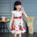 New Brand Korean Baby Girls Dress 2017 Summer Fashion Casual Children's Cute Style Short-Sleeves Crew Neck Floral Clothing Hot