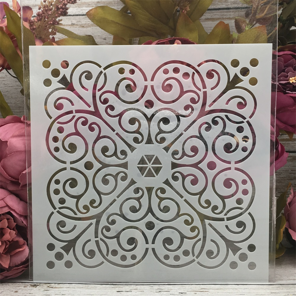 20*20cm Flower Heart Frame DIY Layering Stencils Painting Scrapbook Coloring Embossing Album Decorative Template