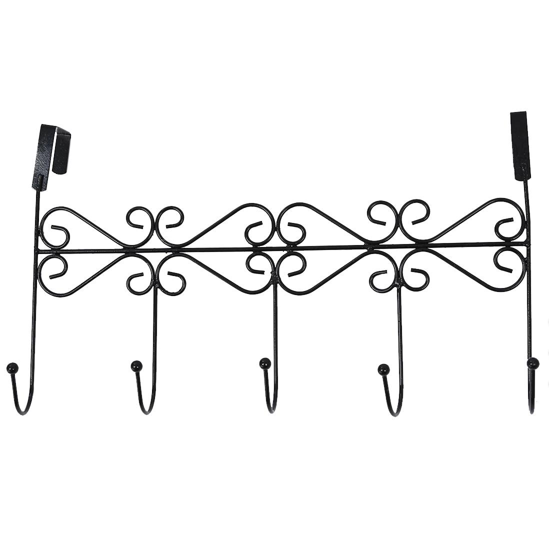 Practical 5 Hanger Black Towel Hat Coat Clothes Wall Hook Over Door Bathroom