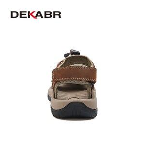 Image 3 - DEKABR Sandalias casuales de cuero genuino para hombre, zapatos transpirables de estilo clásico, para verano