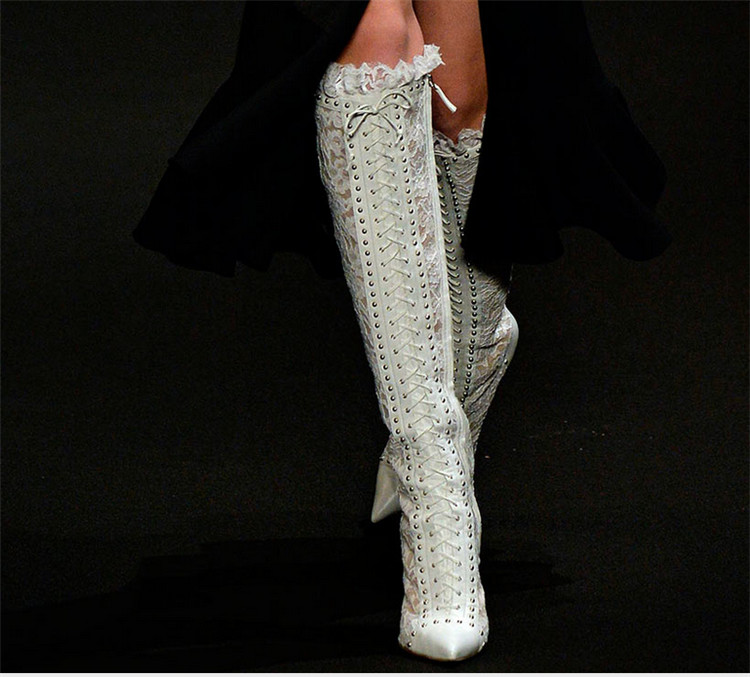 New Fashion Women Knee High Heel Boots Sexy Skim Gladiator Booties Lace Up Rivets Boots Pointed Toe Banquet Party Dress Shoes