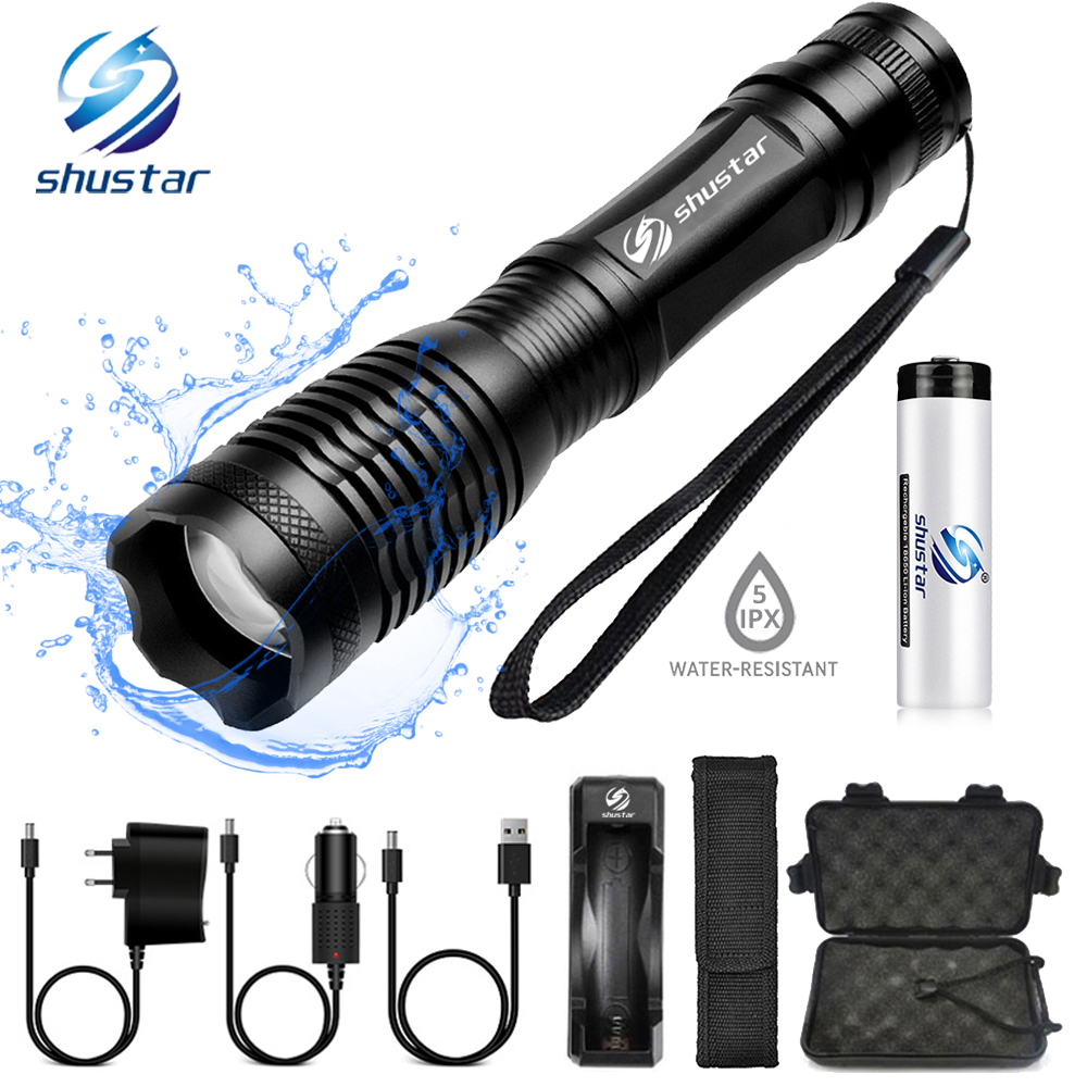 Waterproof LED Flashlight T6/L2 Tactics Led Torch Zoomable Flashlight 5 Switch Modes Light With 18650 Battery + Charger