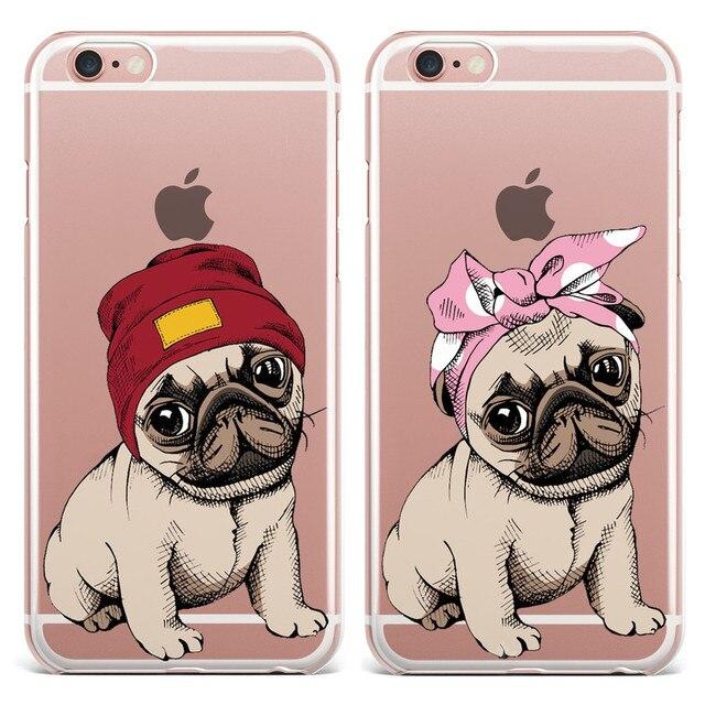 Pug bonito Projeto TPU Macio Casos de Telefone Para O iPhone Da Apple X 5 5S SE 6 6 s 7 8 Plus claro Capa de Silicone de Volta Para o iphone 8 Além de Coque