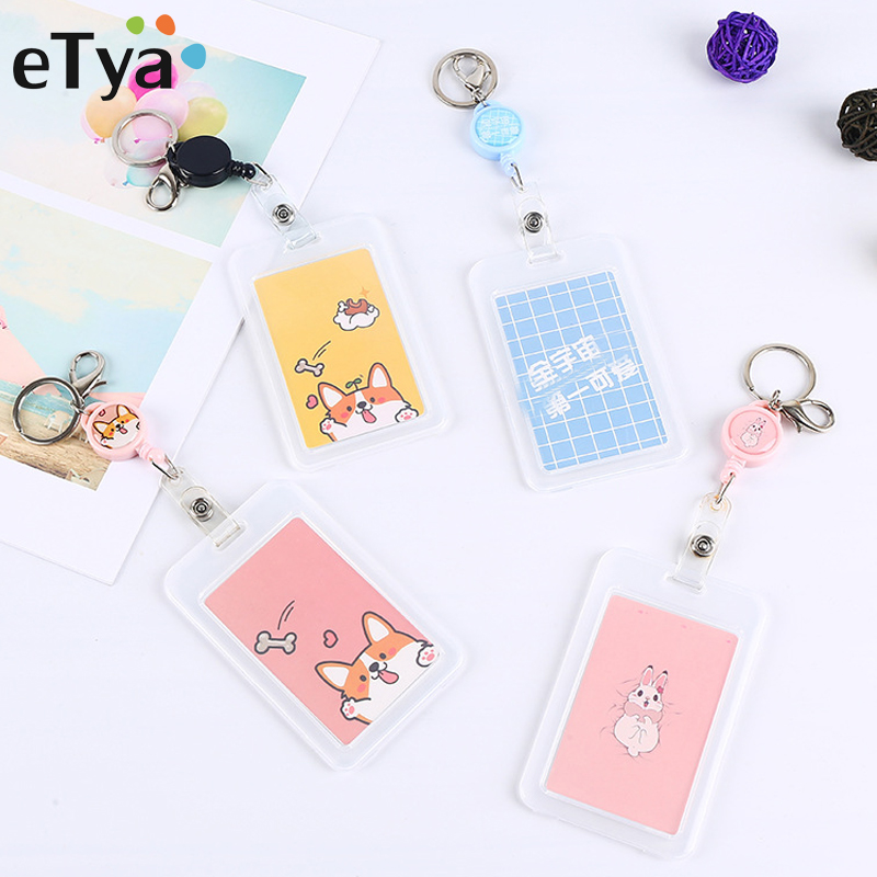 ETya Work ID Card Holder Case Pouch Cartoon Cute Kids Bus Card Wallet Travel Men Women Bank Card Protection Cover Bag Box