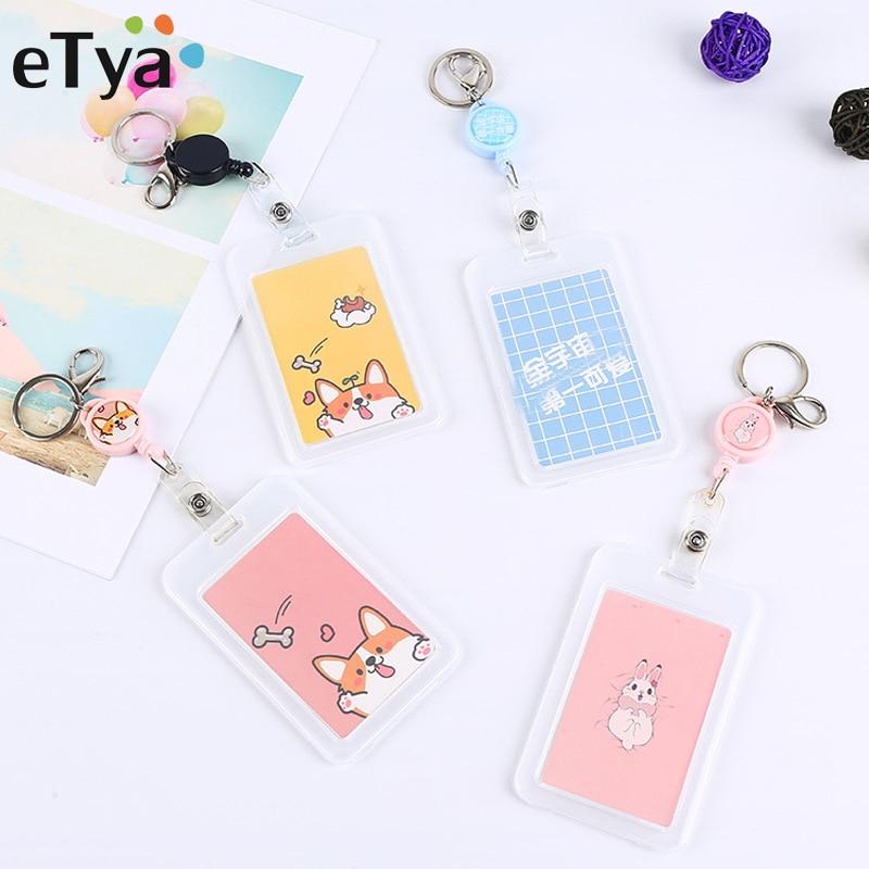 ETya Work ID Card Holder Case Pouch Cartoon Cute Kids Bus Card Wallet Travel Men Women Bank Card Protection Cover Bag Box