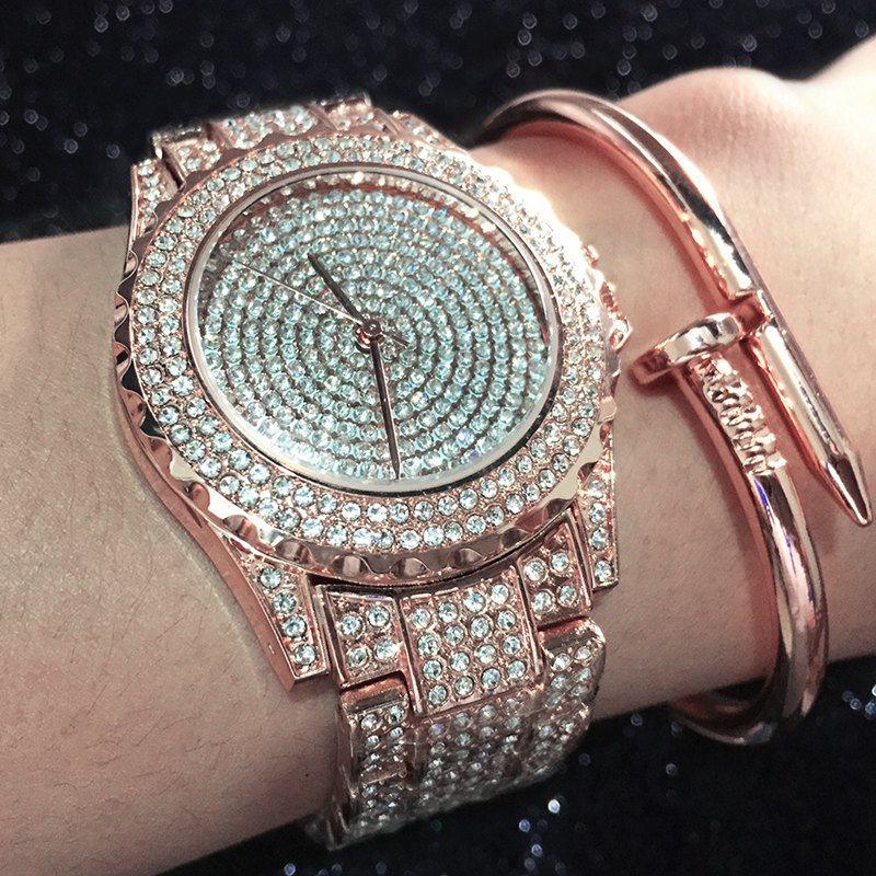 HMMWV Brand Watch Women Luxury Ladies Rhinestones Silver Rose Gold Bling Nail Bracelet Diamond Watches Set
