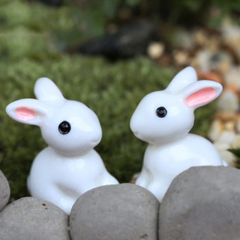 ZOCDOU 1 Piece Small Rabbit Statue Resin Doll Toy Figurine Garden Home Car Desk Crafts Miniatures Decor Cony Hare Ornament image