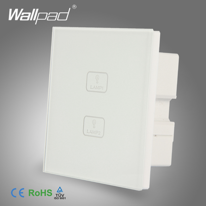 Waterproof Wallpad White Tempered Glass 2 Gang 1 Way Touch Panel Touch Screen Light Wall Switch Board smart home us au wall touch switch white crystal glass panel 1 gang 1 way power light wall touch switch used for led waterproof