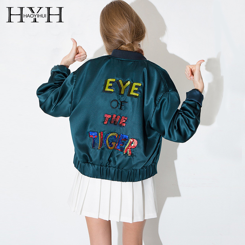 HYH HAOYIHUI 2018 Spring Fashion Green Letters Contrast   Basic     Jacket   Sequin Female Bomber Casual Single Breasted Women Coat Bts