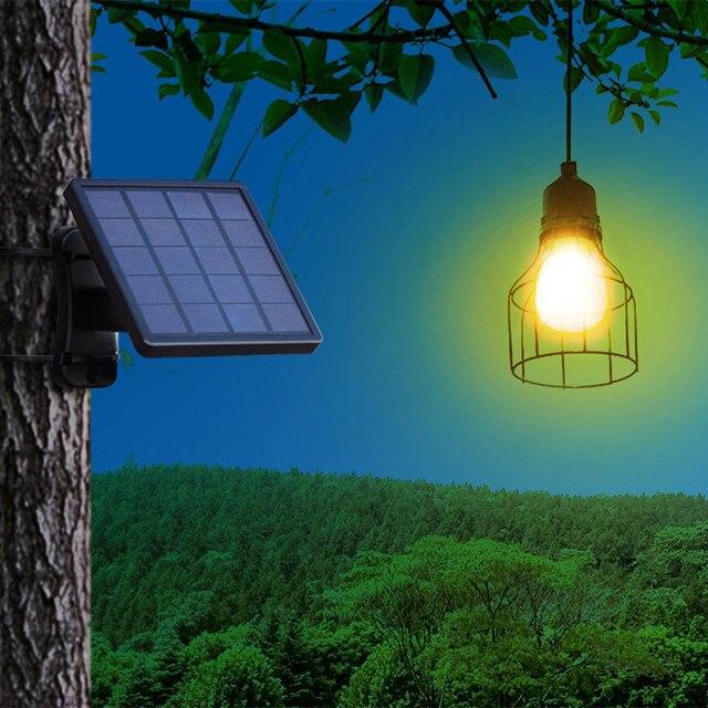 Ousam LED Solar Light Chandelier Lampshade Bulb Solar Panel Lamp 3 Meters String Solar Light Outdoor Hanging Solar Garden Light