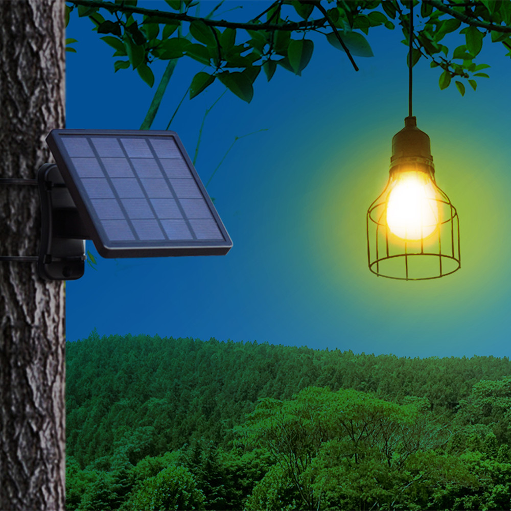 Ousam LED Solar Light Chandelier Hanging Solar Lamp 3 Meters Cord Traditional Edison Bulb Hanging Solar Garden Light