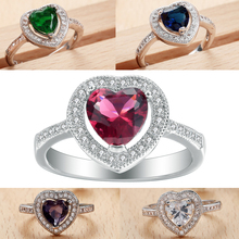 Heart Vintage Finger Rings Green White Red Purple Cubic Zirconia Silver Color Rings Size 6 7 8 9 Best  Wedding Engagement Gifts promise rings size 6 7 8 9 10 engagement royal blue green crystal finger rings new vintage wedding jewelry gift black women ring