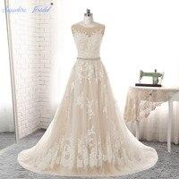 Vestido De Noiva 2017 Wedding Dress Mermaid Lace Applique Beading Neckline Bride Dress Long Train Sexy
