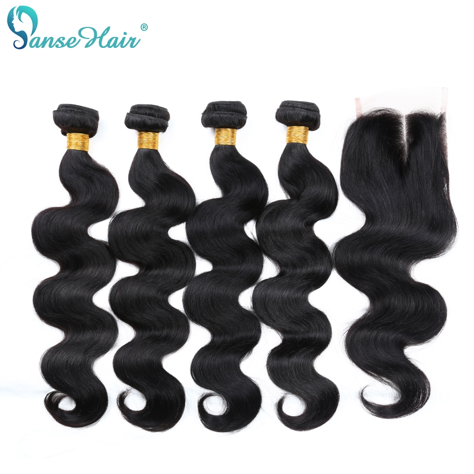 Panse Hair Malaysian Body Wave Hair 4 Bundles With One Lace Closure Customized 8 28 Inches
