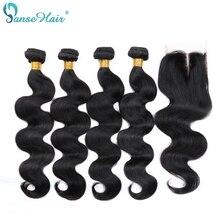 Panse Hair, extension de cheveux malaisiens, extensions de cheveux Non Remy, Body Wave, 8 à 28 pouces, personnalisée, avec Lace Closure, lot de 4