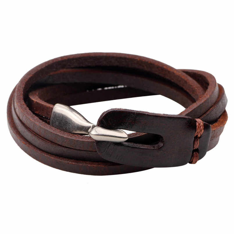 Men And Women Vintage Hooks Multilayer Wrap bracelet Leather Charm Bracelets Bangles Jewelry Accessories YWQR2238
