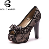 BONJOMARISA 2018 Big Size 33 46 Platform Spring Summer Shoes Woman Red Pumps Fashion High Heels Black Wedding Women Shoes