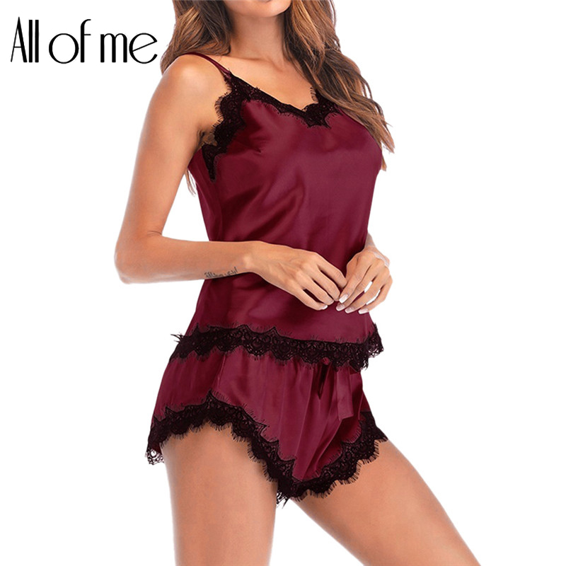 Women Sexy Sleepwear Pure Color Pajama Set Black Lace V-Neck Sleeveless Pyjamas Cute Polyester Shorts Pijama Mujer Algodon Veran