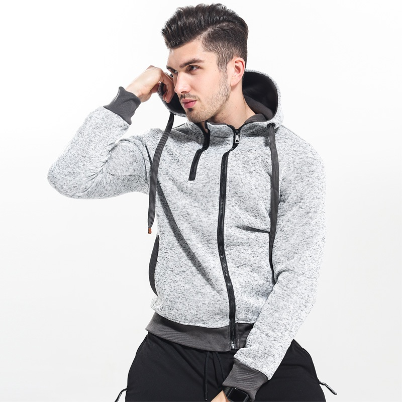 Zymfox Hoodies Men Double Zipper Coat Jogging Sport Design Hoodie Hiking Sweatshirts Male Solid Running Hooded Jacket Gym Coat