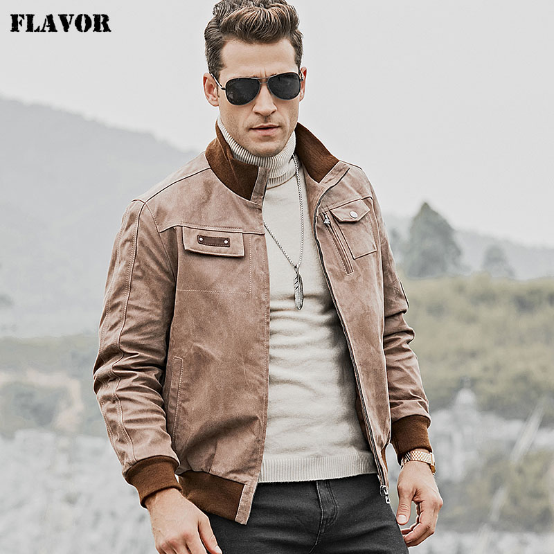FLAVOR Men's Real Leather Jacket Motorcycle Biker Leather Jacket with Standing Collar with Rib Cuff and Collar-in Genuine Leather Coats from Men's Clothing    1
