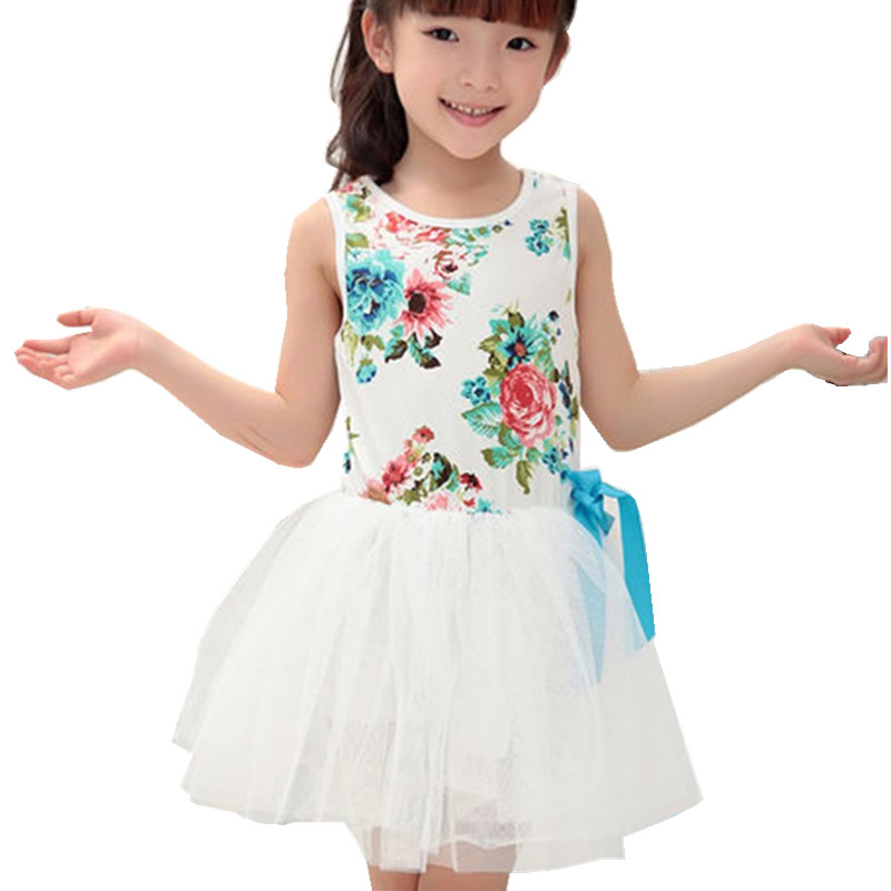 sleeveless summer girl dress tutu next print infantil kids