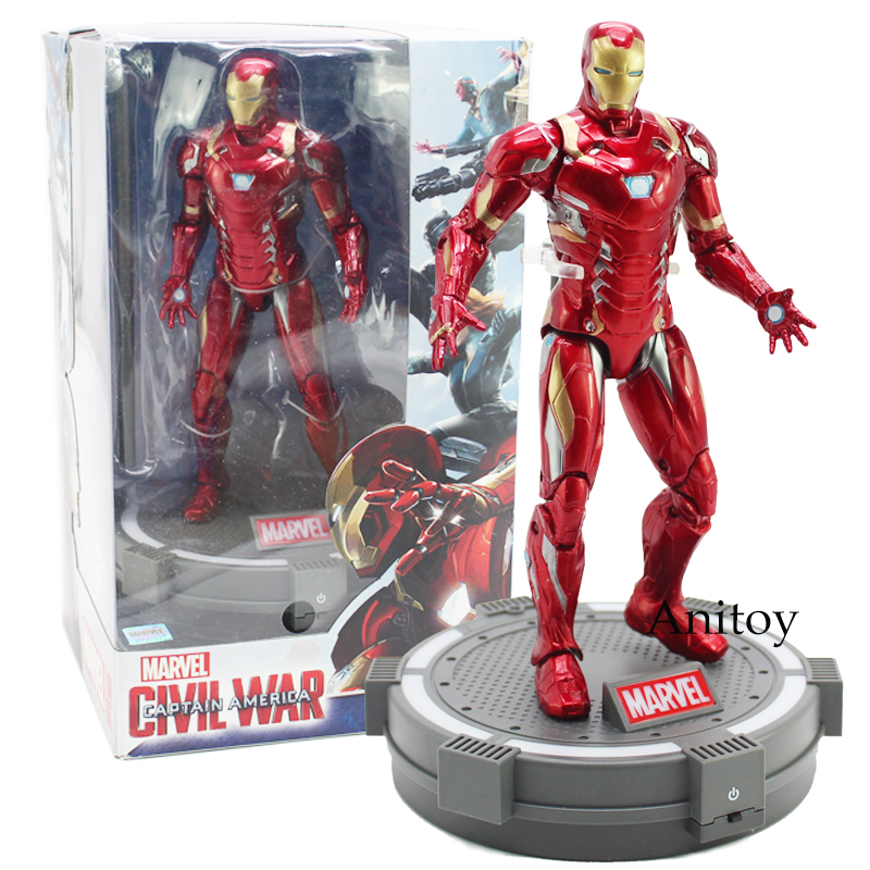 Marvel Civi War Captain America Iron Men With Base PVC Action Figure Collectible Model Toy 18cm captain america civil war iron man 618 q version 10cm nendoroid pvc action figures model collectible toys