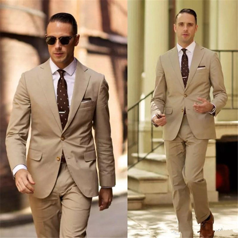 Classy High Quality Men suit Tuxedos Light Brown Mens Wedding Suits Two Pieces Groom Wear Formal Suit (Jacket+Pants)