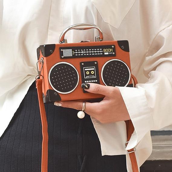 Retro radio box style pu leather ladies handbag shoulder bag chain purse womens crossbody messenger bag flap