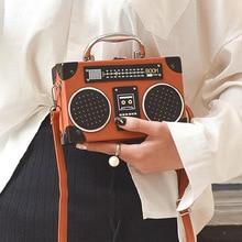 Sac à main style boîte radio rétro pour dames en cuir pu, sac à bandoulière avec chaîne, bourse à rabat