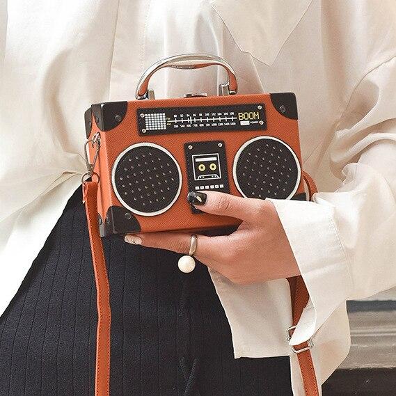 レトロラジオボックススタイルpuレザーレディースハンドバッグショルダーバッグチェーン財布女性のクロスボディメッセンジャーバッグフラップ